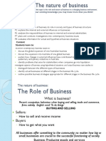 Nature of Business Role of Business