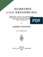 Albert Einstein Geometrie und Erfahrung