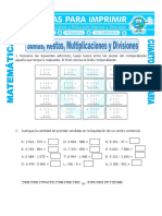 Ficha Sumas Restas Multiplicaciones y Divisiones Para Cuarto de Primaria