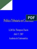 Politica Tributaria en Costa Rica Academia de Centroamerica Abril 17 2007