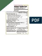 Información Nutricional Cake Marmoleado