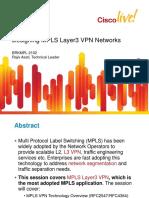 Cisco - Designing MPLS Layer3 VPN Networks