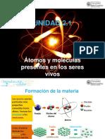 Unidad 2.1. Átomos y Moléculas Presentes en Los Seres Vivos