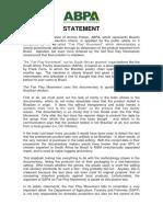ABPA Statement