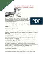 Ejemplo de Cálculo de La Tasa de Actualización o Tasa de Descuento Para La Valoración de Proyectos de Inversión