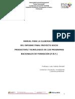 Manual Para La Elaboración Del Informe Proyecto Socio Productivo