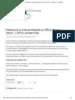 Desactivar La Vista Protegida en Office (Excel, Word..