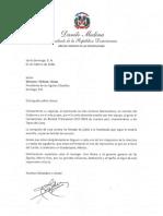 Carta de felicitación del presidente Danilo Medina a Winston -Chilote- Llenas por triunfo de las Águilas Cibaeñas para obtener el Campeonato de Béisbol Invernal 2017-2018
