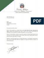 Carta de condolencias del presidente Danilo Medina a Fabio Cabral por fallecimiento de su madre, Dulce María de Jesús Valenzuela de Cabral
