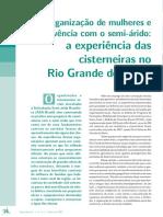 Organização de Mulheres e Convivência Com o Semi-árido a Experiência Das Cisterneiras No Rio Grande Do Norte