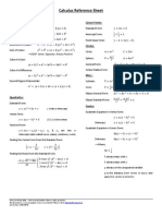 Calculus Reference Sheet