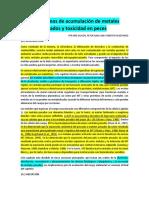 ARTICULO 1 Mecanismos de Acumulación de Metales Pesados y Toxicidad en Peces
