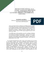 Archila Neira, Mauricio. de La Revolución Social a La Conciliación. Algunas Hipótesis Sobre La Transformación de La Clase Obrera Colombiana (1919-1935)