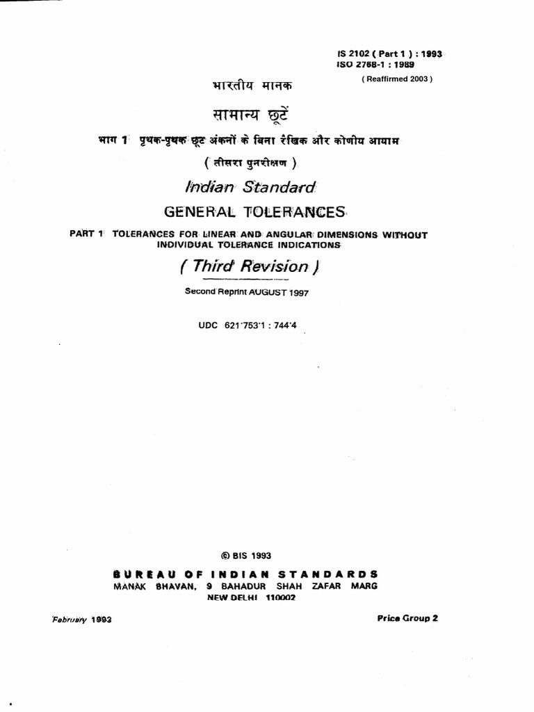 Is 2102 Part 1-1993 ISO 2768-1-1989 - General Tolerances Part 1