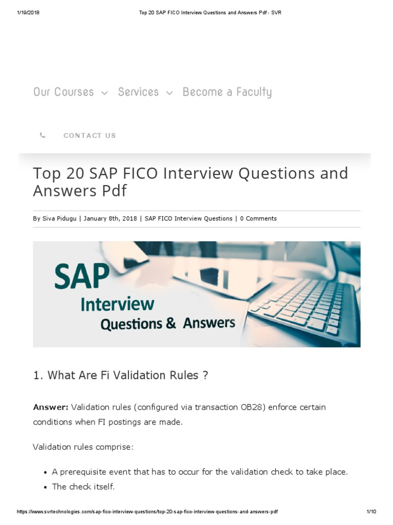 Top 20 SAP FICO Interview Questions And Answers PDF   SVR | Revenue |  Currency