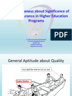 Presentation for faculty Awareness about Significance of Quality Assurance in Higher Education Programs