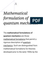 Mathematical Formulation of Quantum Mechanics