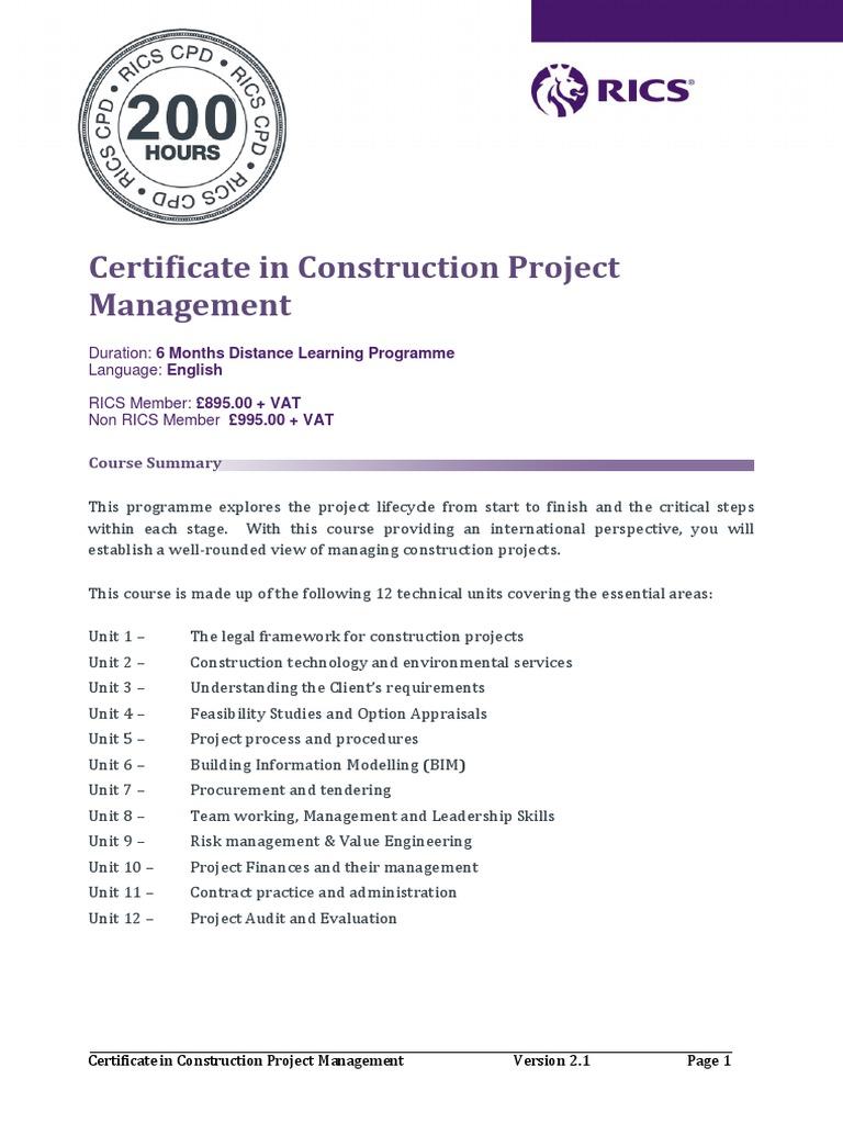 Certificate In Construction Project Management 280917 Lp Building