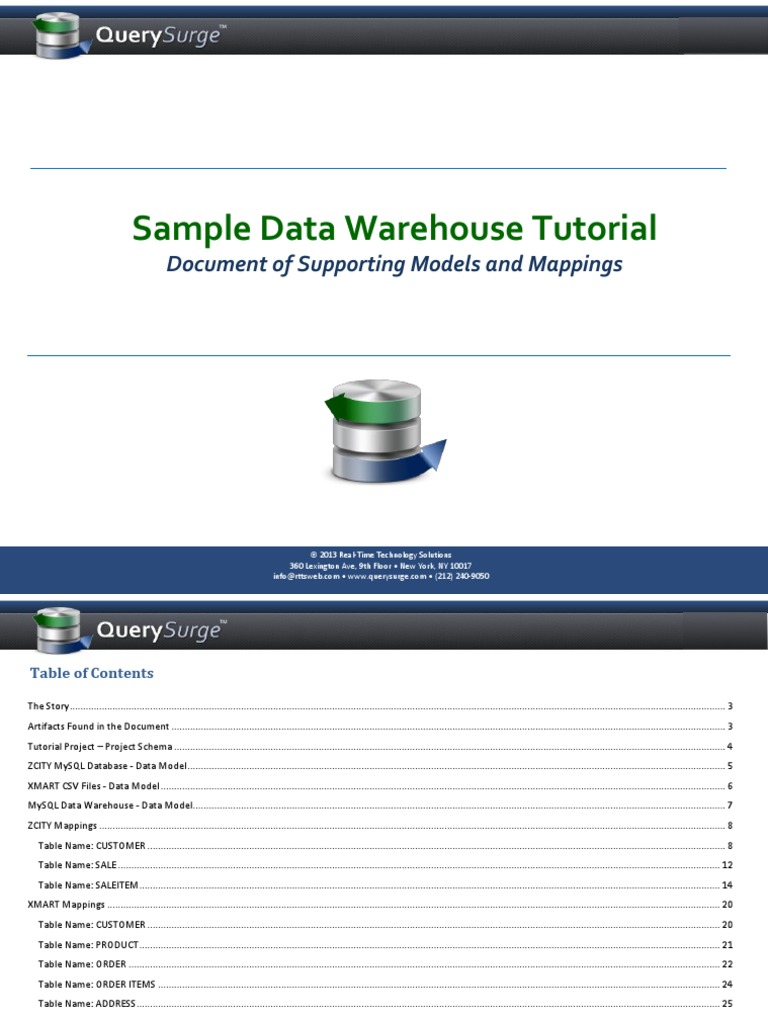 QuerySurge Models Mappings Document | Data Warehouse | Databases