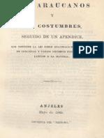 PÉREZ, José Joaquín - Los araucanos y sus costumbres.