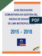 Plan de Educacion Comunitaria en Gestion Del Riesgo de Desastre de Lima Metropolitana 2015 - 2018