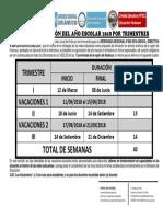 Calendarización Del Año Escolar 2018 en La Región Hco