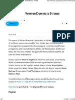 Part 2 - Strong Women Dominate Strauss Operas - WQXR Features - WQXR