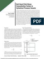 Bolt Head Fillet Stress Concentration Factors in Cylindrical Pressure Vessels