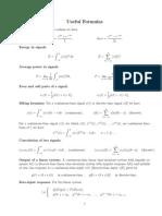 Signals Formula Sheet