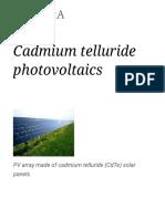 Cadmium Telluride Photovoltaics