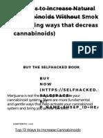 49 Ways to Increase Natural Cannabinoids Without Smoking Pot (Including Ways That Decrease Cannabinoids) - Selfhacked