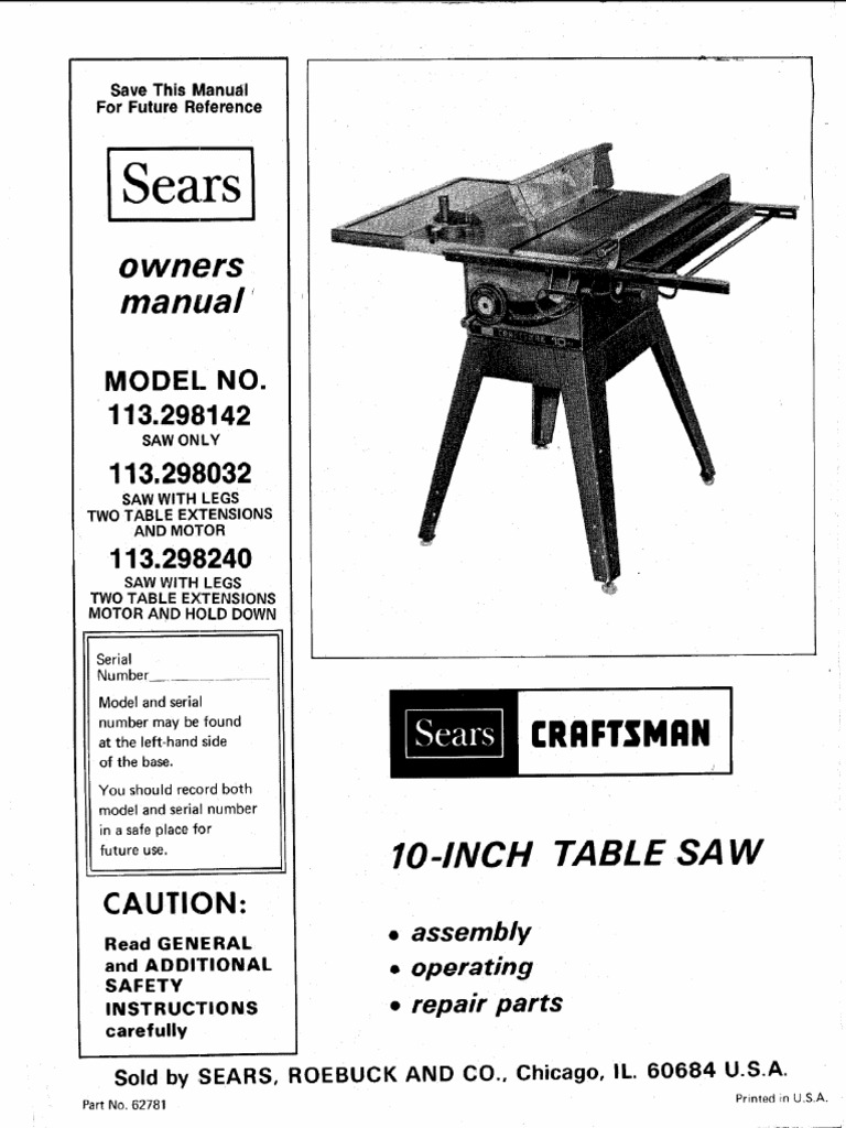 Craftsman Craftsman 10 Inch Table Saw OWNER MANUAL