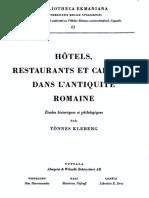 Hôtels, restaurants et cabarets dans l'antiquité Romaine