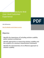 Solution Architecture and User and Customer Experience