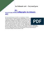 Calligraphy in Islamic Art