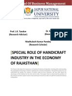 Synopsis - SPECIAL ROLE OF HANDICRAFT INDUSTRY IN THE ECONOMY OF RAJASTHAN - M K Pandey