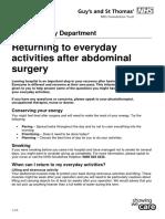 Returning Everyday Activities Abdominal Surgery