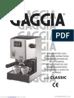 Gaggia Classic Instruction Manual