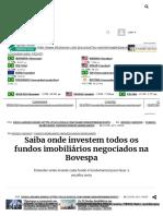 Saiba Onde Investem Todos Os Fundos Imobiliários Negociados Na Bovespa - InfoMoney