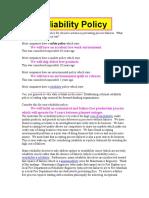 Reliability Policy