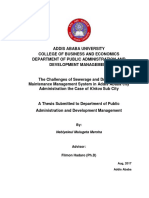 Nebiyeleul Mulugeta Mersha GSE 1473.06 Research Title; the Challenges of Sewerage and Drainages Maintenance Management System in Addis Ababa City Administration the Case of Kirkos Sub City. Advisor Filmon Hadaro (Ph.D) 2017