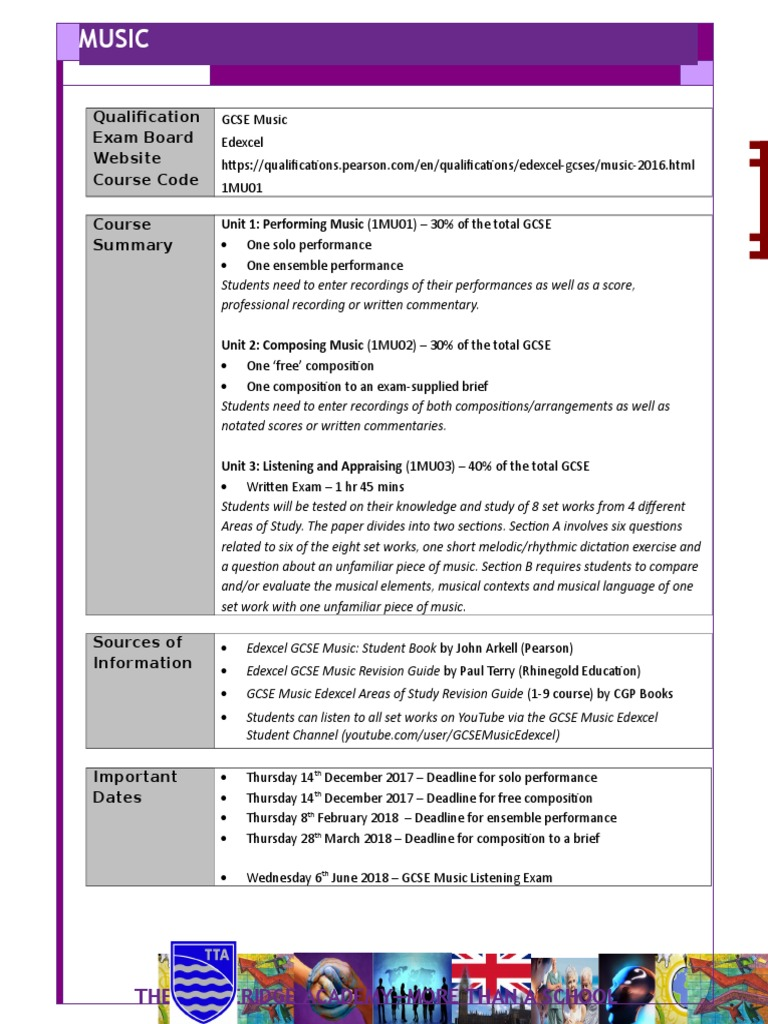 Music GCSE Summary | Educational Assessment And Evaluation