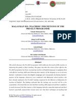 Malaysian Esl Teachers Perceptions of the Pro-elt Programme 17012018