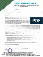 Letter to Minister Regarding FSSAI Issue