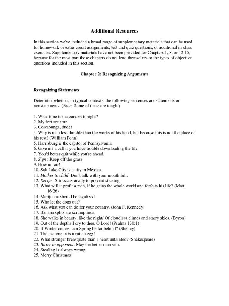 4 Exercises Bassham Ct Argument Sentence Linguistics