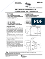 XTR106!4!20mA Current Transmitter With Bridge Excitation and Linearization Datasheet (Rev