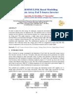 MATLAB SIMULINK Based Modelling Photovoltaic Array Fed T-Source Inverter