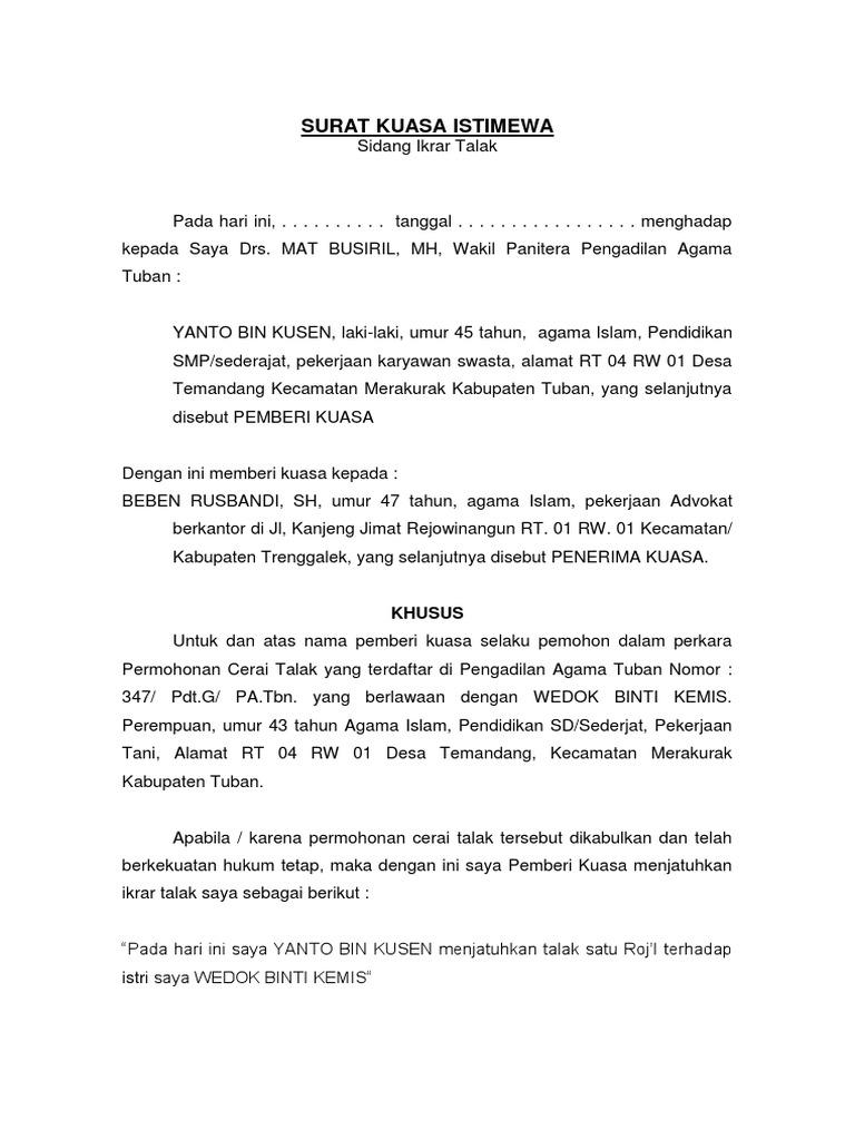 surat kuasa istimewa