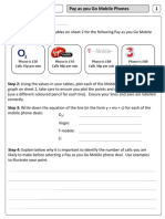 Linear Graphs - Mobile Phone Task Worksheets 1 & 3