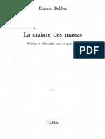 BALIBAR, Étienne - La crainte des masses